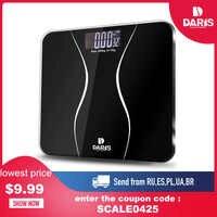 SDARISB-Báscula de baño eléctrica inteligente, para peso digital, de vidrio templado con pantalla LCD de 180 kg750 kg