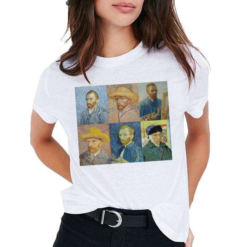 Harajuku Vintage Tshirt Van Gogh Van Goghing Van Gone Meme Funny Aesthetics T Shirt Vogue Cute Print Women Tops