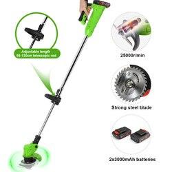 21V электрический триммер для травы, Беспроводная газонокосилка, регулируемая длина, садовые обрезные кусачки, инструменты с 2 шт, 2000mAh литий-...