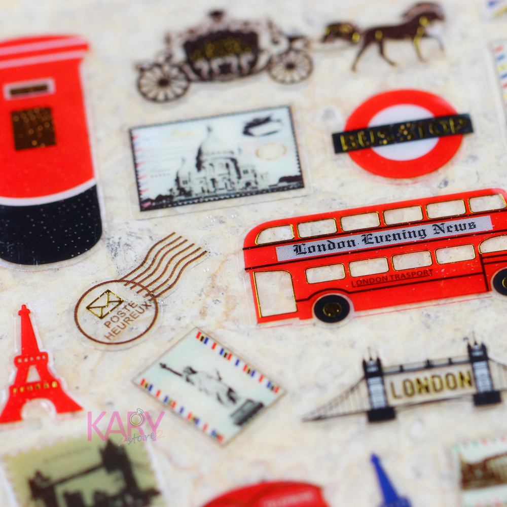 Paris Tower London Bridge Travel Trip Stamp Mail Envelope Kawaii Gift Reward Kid Children Scrapbooking Retro Crystal Stickers