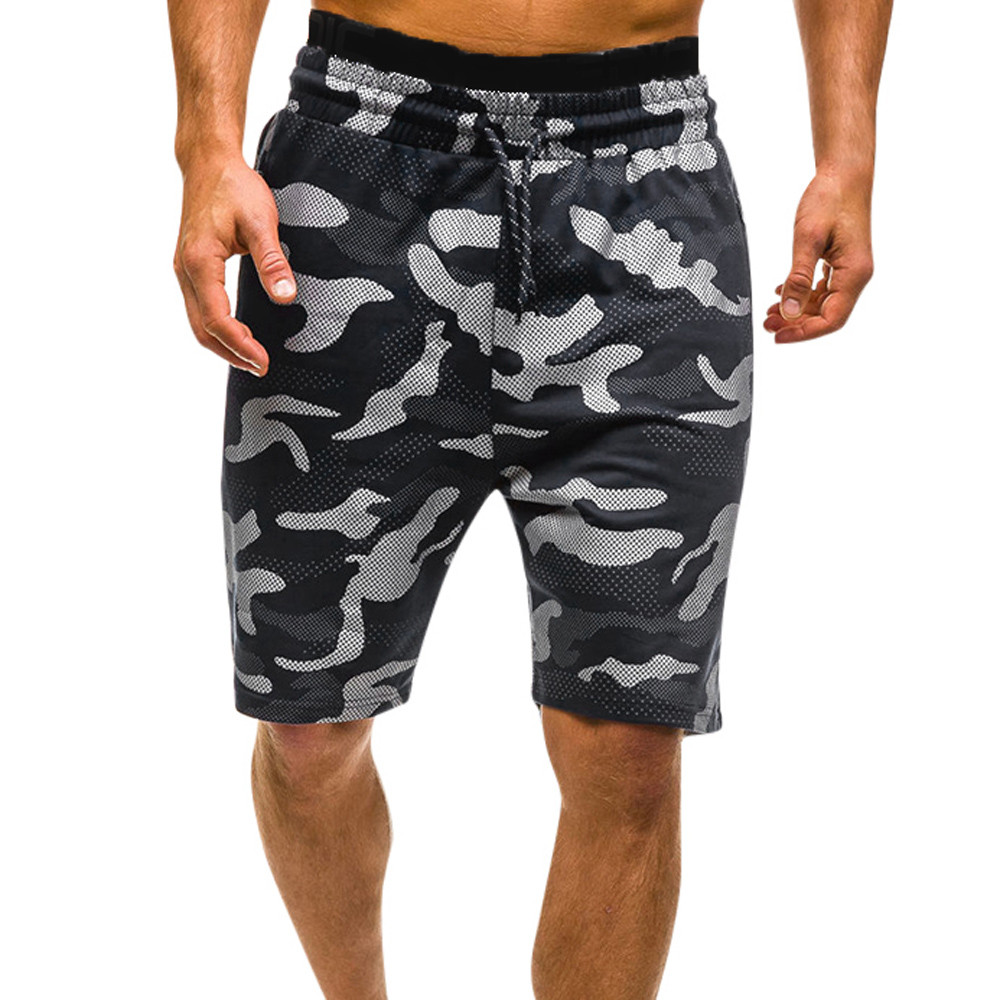 Mens Camouflage Printed Shorts Elastic Waist Drawstring Fitness Slim Gym Sports Short Pant Men Camo Summer Shorts 2020
