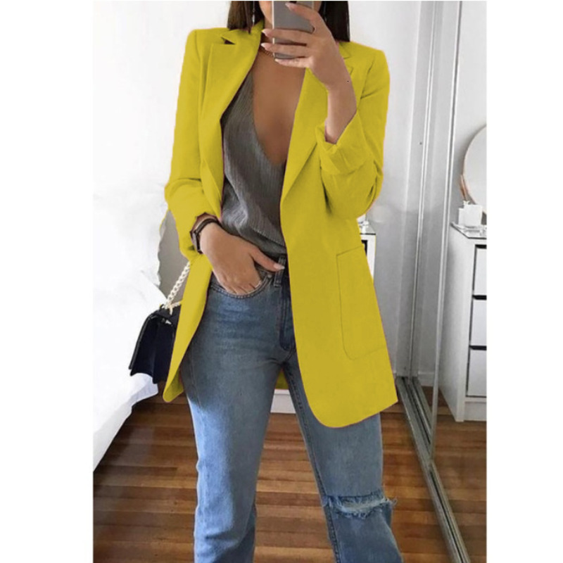 Plus Size Yellow Red Womens Blazers Long Sleeve Casual White Office Ladies Blazer Suit Jacket Cardigan Slim Solid Coat