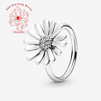 Original Silver Color custom Charms Ring Pave Daisy Flower Statement Ring Finger Rings Fashion Jewelry for  Wedding Party viennois silver color rings for woman star rings coffee gold color ring jewelry wedding party female finger rings
