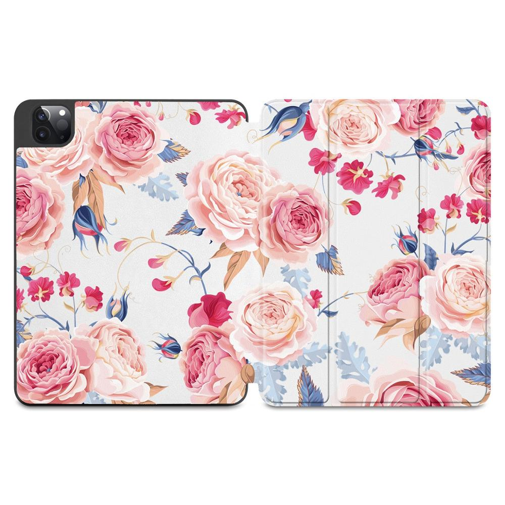 J073 Gold Flowers Print Case for Apple iPad Pro 11 2020 2018Full Body Protective Rugged Shockproof Case with