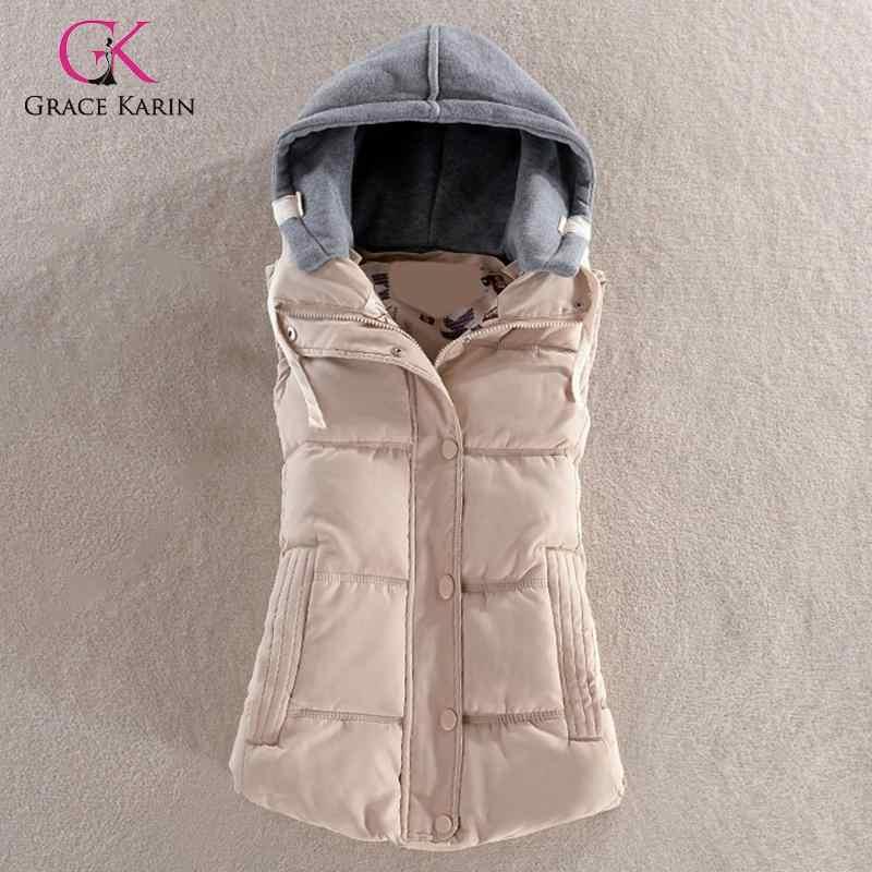 グレースカリンノースリーブ冬のコートの女性のカジュアル冬暖かい付きのジャケット生き抜く 2019 ダウンジャケットのファムプラスサイズ