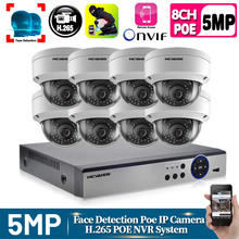 Human Face Record H.265+ 8CH POE NVR Kit 5MP POE Outdoor Camera CCTV Camera System Home