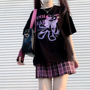 Kawaii Cartoon Pink Top Short Sleeve Punk Crop Bear print Summer Casual Cute Women T shirt Tee Fashion black clothing