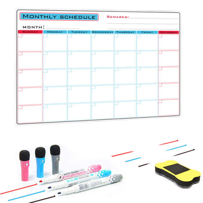 YIBAI Magnetic Whiteboard A3 Monthly Planner Message Board For School Home Bulletin Memo Boards Fridge Magnet Calendar 30*42cm