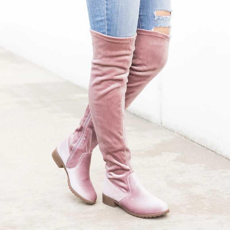HEFLASHOR ince çizmeler üzerinde seksi süet kadın kar botları kadın moda kış uyluk yüksek çizmeler ayakkabı kadın