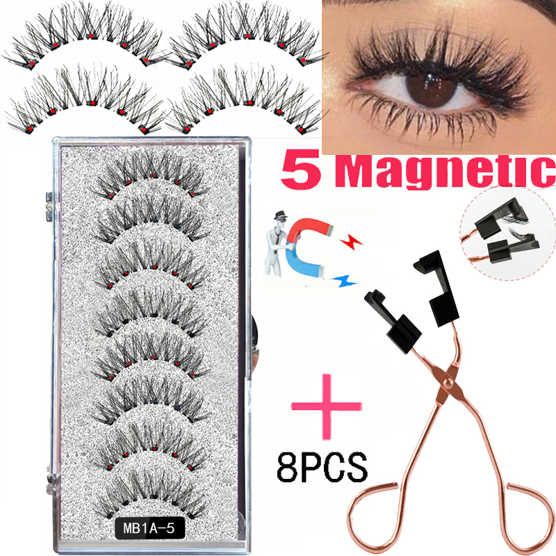 LEKOFO 4 Pairs Magnetic Eyelashes 6D With 8PCS magnet magnetic lashes Natural curl faux cils magnetique mink eye lashes tweezers