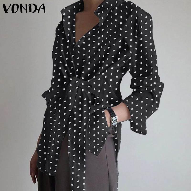 Party Blouse Women Sexy Tops VONDA 2020 Casual Turn-down Collar Belt Polka Dot Shirts OL Beach Tops Plus Size Tunic Female Blusa