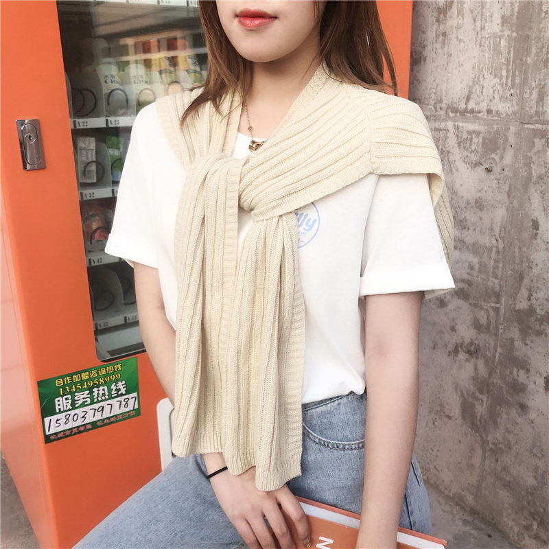 Korean Style Winter Scarf Women Fashion Solid Color Poncho Elegant Lady Knitting Shawl Wraps Woollen Yarn Pashmina Echarpe Femme in Women 39 s Scarves from Apparel Accessories