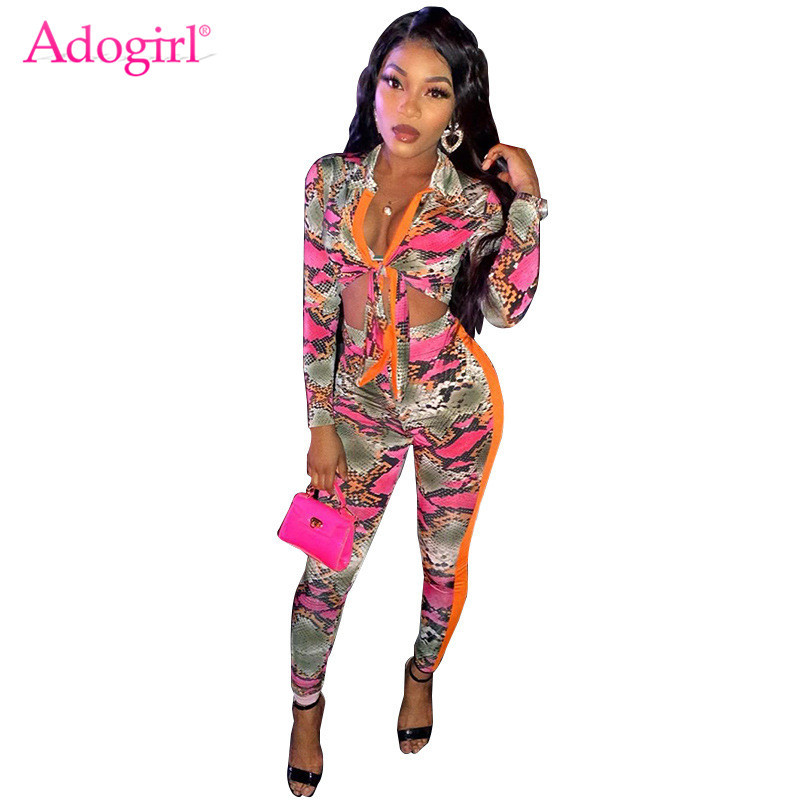Adogirl Snakeskin Print Women Fashion Two Piece Set 2020 Spring Color Patchwork Long Sleeve Shirt Top Pencil Pants Casual Suit