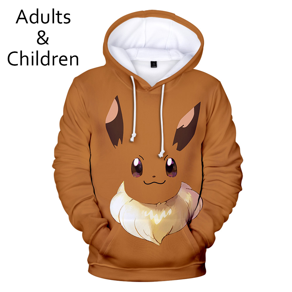 New Fashion 3D Pokemon Hoodies Men Women Hoodie Children Sweatshirt 3D Pokemon Autumn Boys Girls Anime Brown Kids Pullovers
