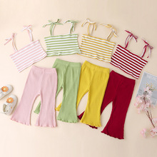 Summer Clothing Baby Girls Sets Spaghetti Strap Vest Tops Flare Pants Knitted Toddler Girls Outfits Striped Infant Clothes Sets