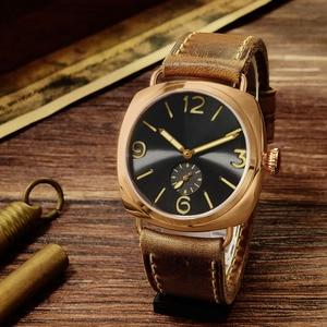 Image 2 - Часы San Martin из бронзы, деловые повседневные Простые мужские кварцевые часы с кожаным ремешком, светящиеся водонепроницаемые до 200 м