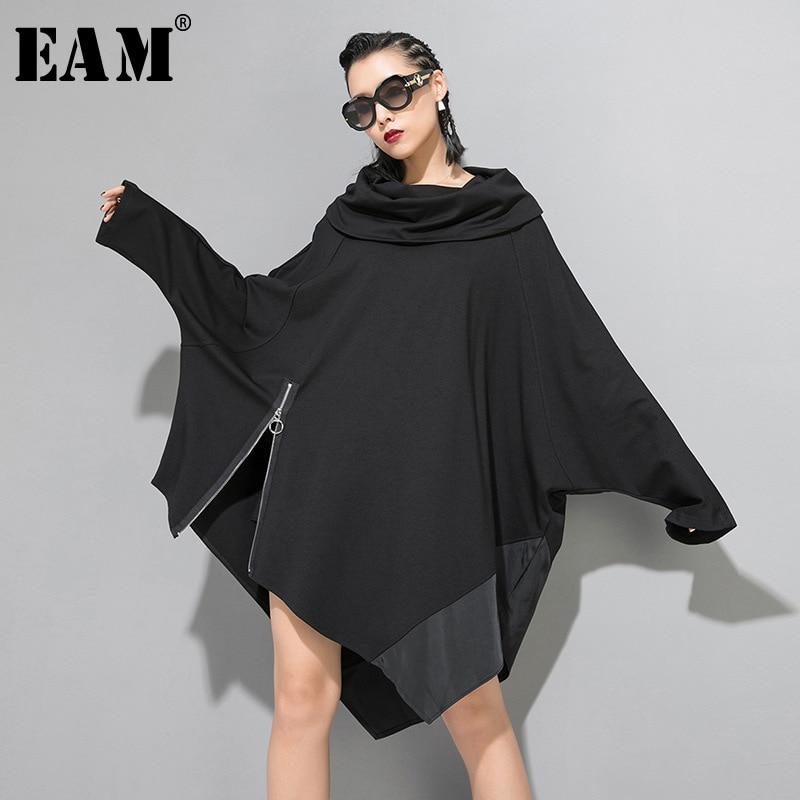 [EAM] Loose Fit Oversize Spliced Irregular Sweatshirt New Round Neck Long Sleeve Women Big Size Fashion Spring Autumn 2020 1B195