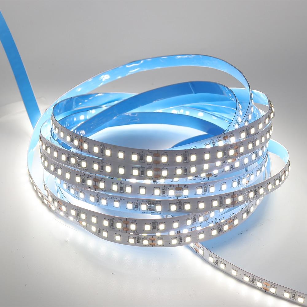 Super brillante 1200LED 5m cc 12V 24V 2835 píxeles tira Flexible LED luz impermeable IP65 IP67 cinta RGB tiras Decoración
