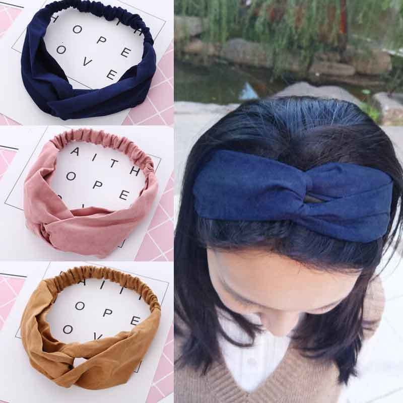 1 Pcs Women Spring Autumn Suede Headband Vintage Cross Knot Elastic Hair Bands Girls Hairband Headwear Hair Accessories
