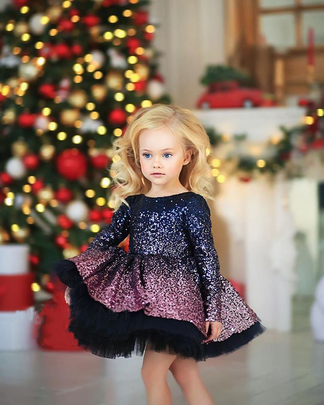 2020 Festival Party Girls Dresses Cute Purple Sequine Girls Dresses Gowns Long Sleeve Purple Pageant Dresses Cute Dresses