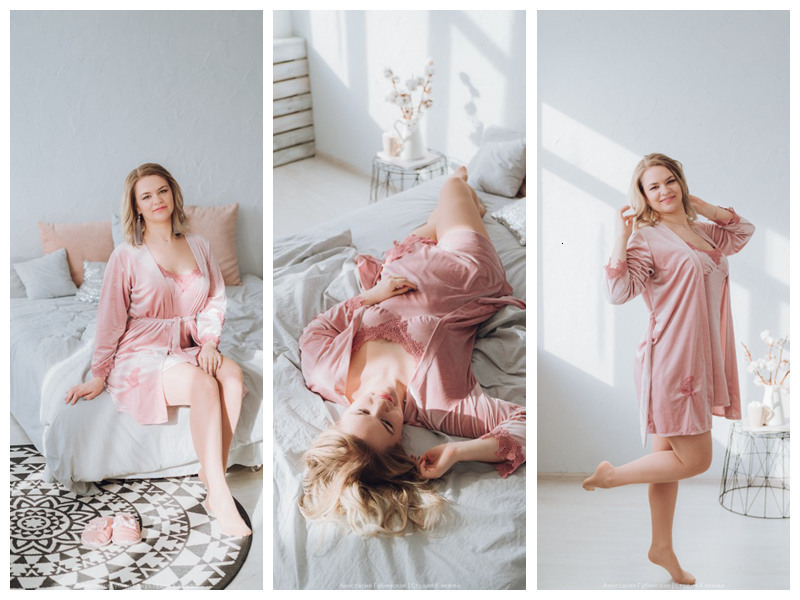 He2f44bdef97e405abeca42206444e675Q - JULY'S SONG Gold Velvet 4 Pieces Warm Winter Pajamas Sets Women Sexy Lace Robe Pajamas Sleepwear Kit Sleeveless Nightwear