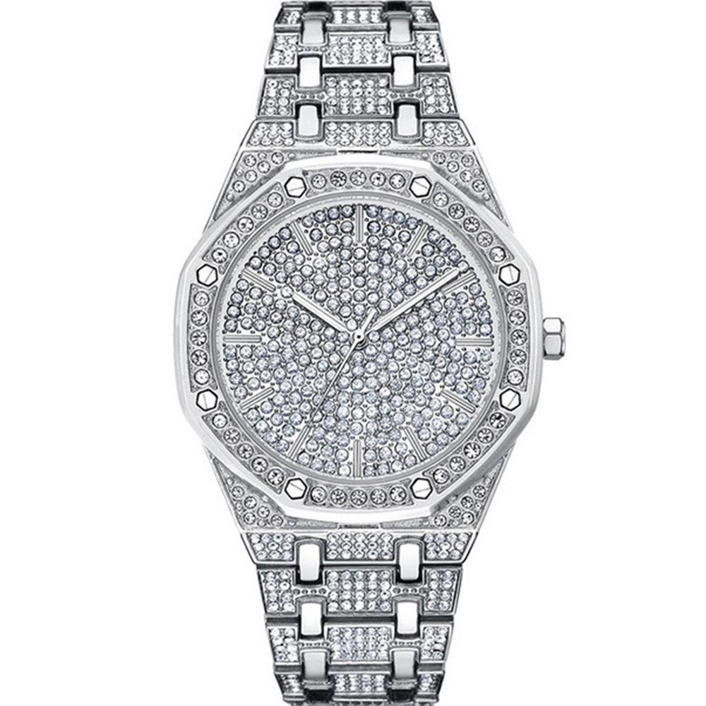 Hip Hop <font><b>Watches</b></font> For Men Fashion <font><b>Diamond</b></font> Quartz <font><b>Watch</b></font> Mens Silver Full Stainless Steel Wristwatch Business Waterproof Male Clock image