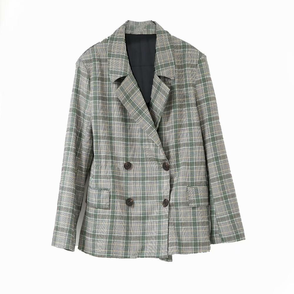 New Women Lightweight Fabric Urban Color Matching Plaid Lapel Suit 2020 Ladies Fashion Long Sleeve Pocket Casual Top Autumn