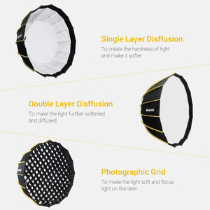 Image 3 - NiceFoto Studio Fast Installation Hexagonal Softbox 60cm / 23.6inch with Soft Diffuser Cloth for Speedlite Photography Light