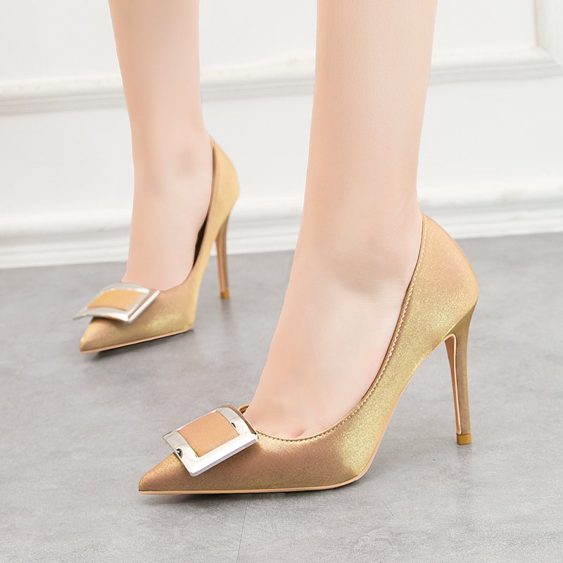 Shoes Woman Metal Decoration Slip On Pumps Fashion High Heels Sandals Shallow Slides Pointed Toe Zapatos Mujer Black Gold Blue