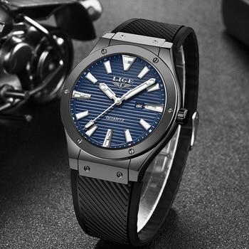цена Relogio Masculino 2019 LIGE Mens Watches New Silicone Strap Watch Men's Military Sports Wrist Watch Men Waterproof Quartz Clock онлайн в 2017 году
