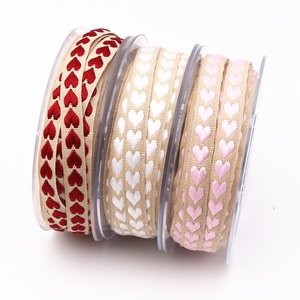 10mm pink red white woven peach heart ribbon made of polyester for wedding decoration gift wrapping Bows DIY Crafts Accessories