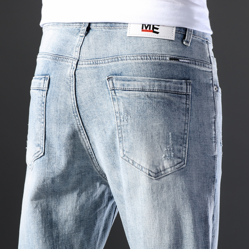 KSTUN Famous Brand Jeans Men White Blue Stretch Relaxed Tapered Pants Leisure Full Length Trousers Good Quality Jeans Male Homme 19