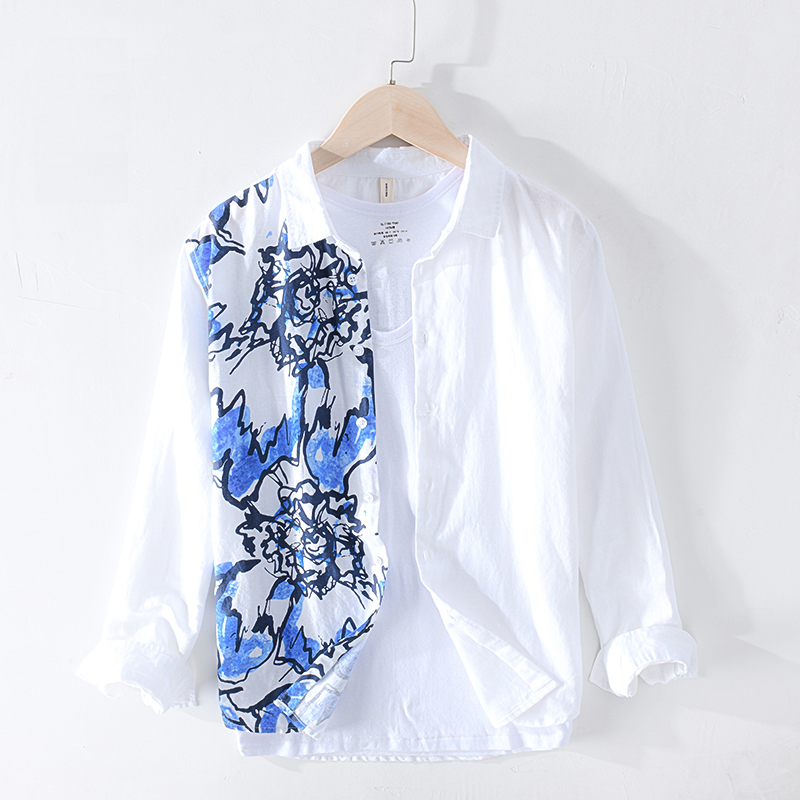 Cotton Linen Men Shirt Breathable Men Long Sleeve Shirt 2020 New Casual Shirts White Patchwork Print Shirt Loose Y2402