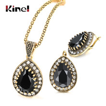 Kinel Batu Hitam Wanita Perhiasan Set Fashion Dubai Gold Drop Anting-Anting Kalung Vintage Pernikahan Perhiasan Grosir(China)