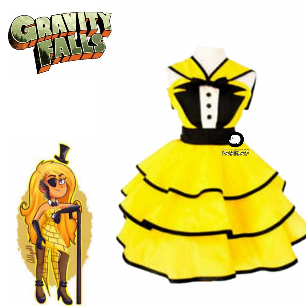 Gravity Falls Female Bill Cipher Dress Cosplay Costume Women Girl Costume Any Size