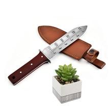 Multifunções faca de escavação de aço inoxidável portátil poda serrilhada faca de ervas daninhas ferramentas planta pá do jardim com capa