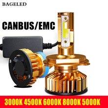 Светодиодный фонарь BAGE Mini Canbus, H4, H7, 12 В, 8000 лм, 4300K, 6000K, 8000K, 5000K, H3, H1, 9005, HB3, 9006, HB4, H8, H11
