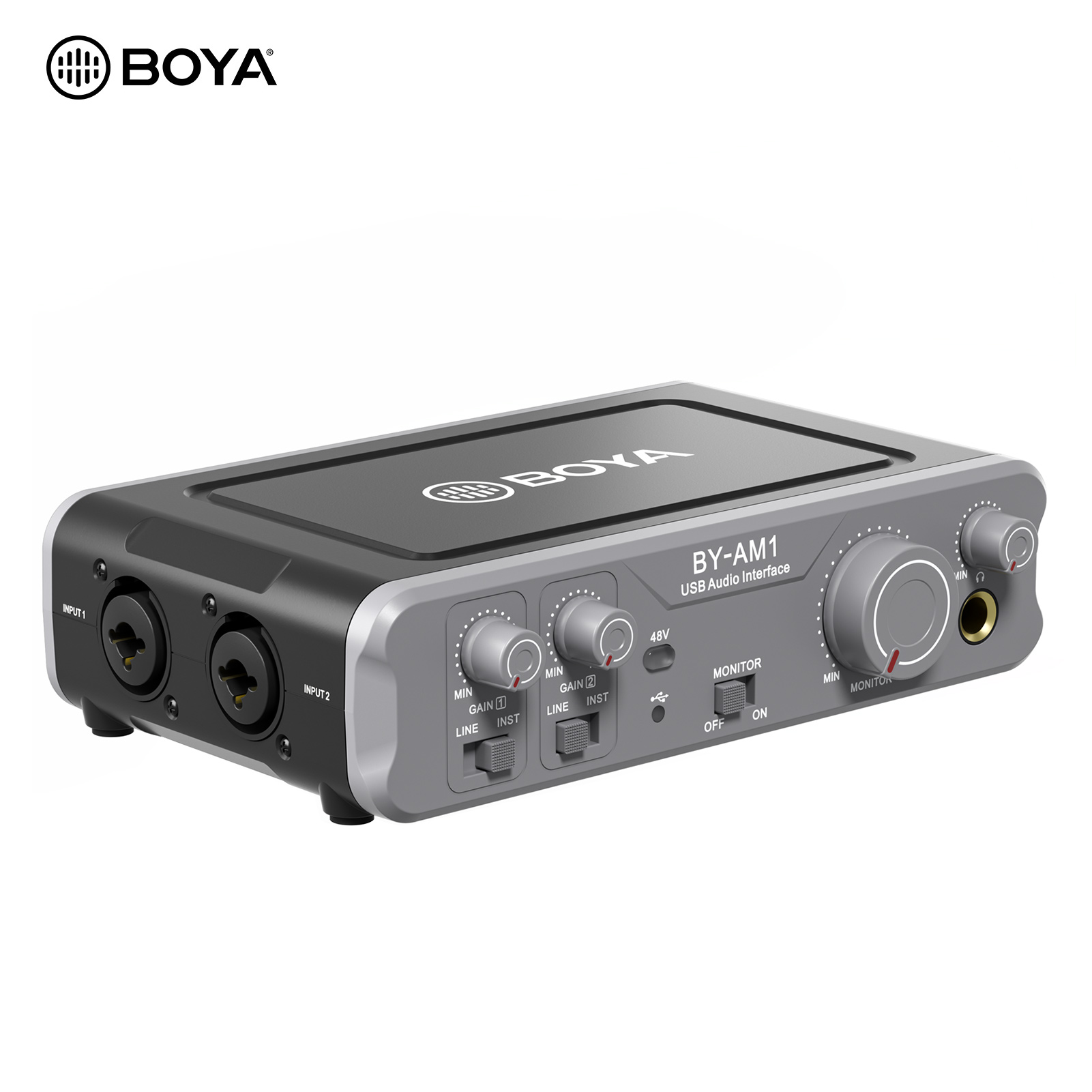 BOYA BY-AM1 Double Canal Mélangeur Audio Interface Audio USB avec 6.35mm/XLR Entrées Combo pour L'enregistrement Audio En Direct