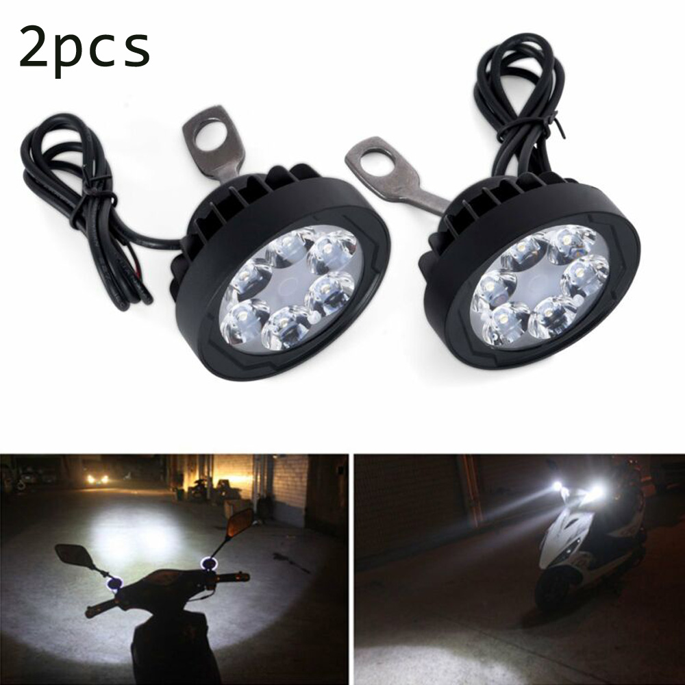 2pcs Set Motorcycle Headlight Fog Driving Lights Front Head Lamp 6 LED 12V-85V