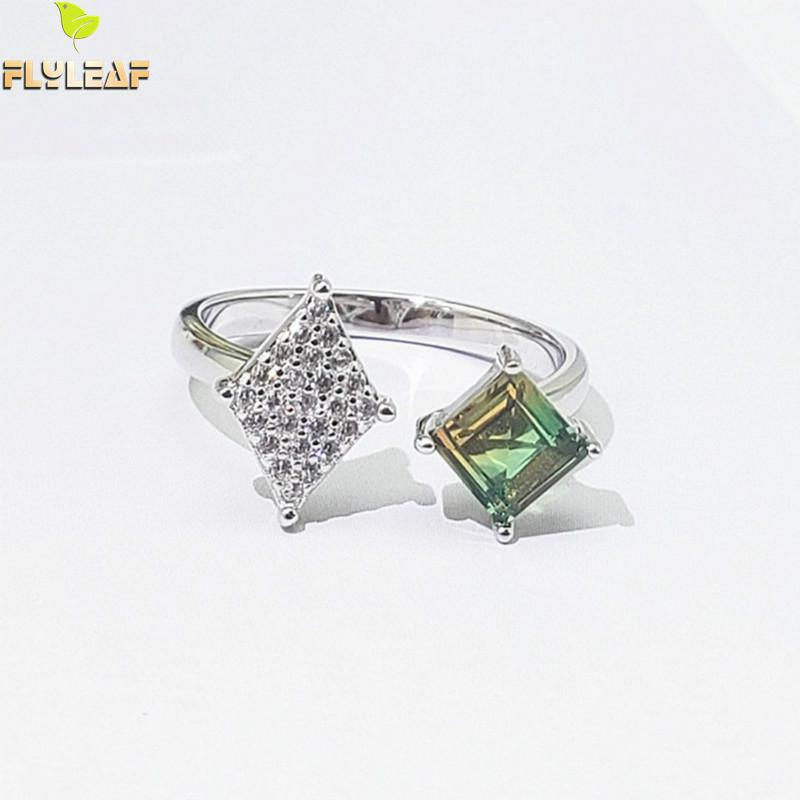 Flyleaf Tourmaline Real 925 Sterling Silver Rings For Women Fine Jewelry Star Cubic Zirconia Open Ring Luxury Designer Jewelry