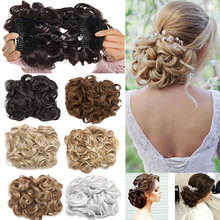 S-noilite 16Colors Short Synthetic Hair Big Bun Chignon Two Plastic Comb Clips in Hair Extension Hairpiece Accessories