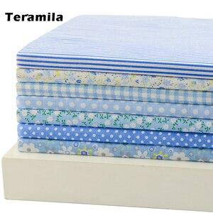 Teramila 7pcs Blue Color Cotton Fabric Different Patterns Telas Cloth Materials For DIY Sewing Dolls Patchwork Crafts Decration