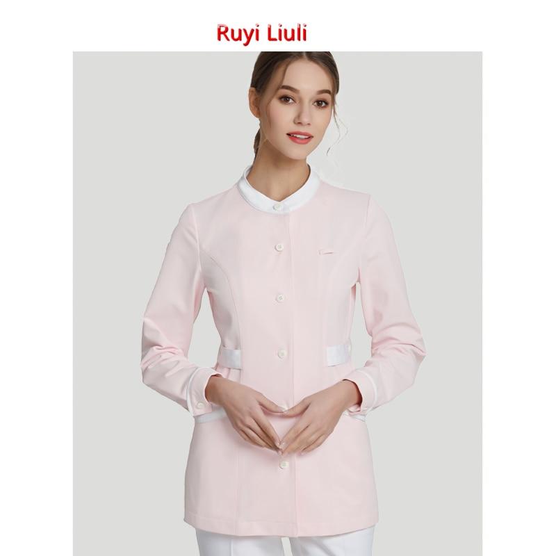 Pink nurse wear short sleeved women 39 s beauty salon work clothes fashionable split suit nurse trousers summer pants in Nurse Uniform from Novelty amp Special Use