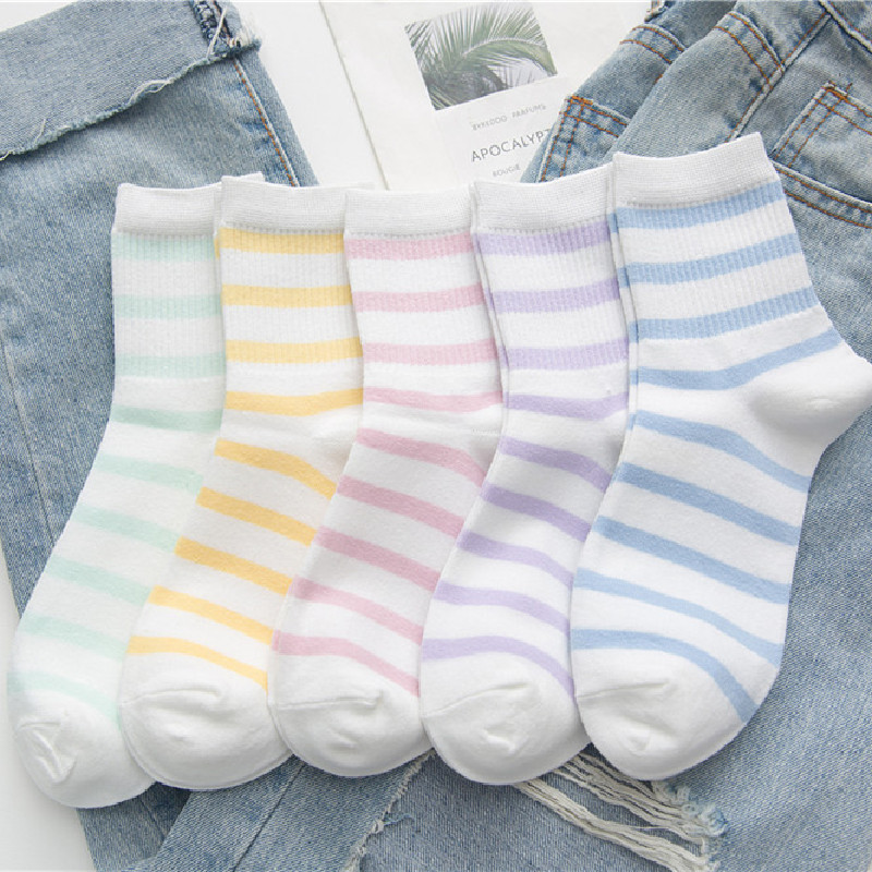 New Cotton Striped Tube Female Socks Student Casual Cotton Socks Candy Color Socks