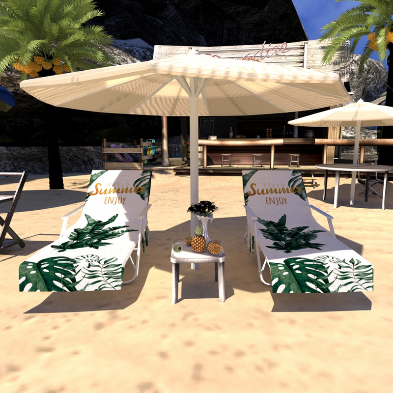Lazy Lounger Beach Towel Chair Covers With Pockets Quick Drying Beach Lounge Chair Cover Towel Bag For Hotel Holiday Sunbathing