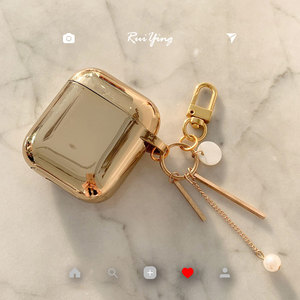 Luxury plating metal gold star keychain Wireless Earphone Charging silicon soft case for AirPods 2 1 Bluetooth Headset cover(China)