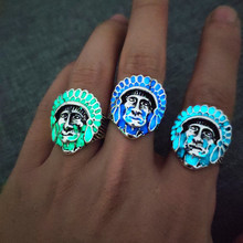 Retro infinite glow ring exaggerated Indian pictures alloy rings male fashion luminous Size open jewelry wholesale