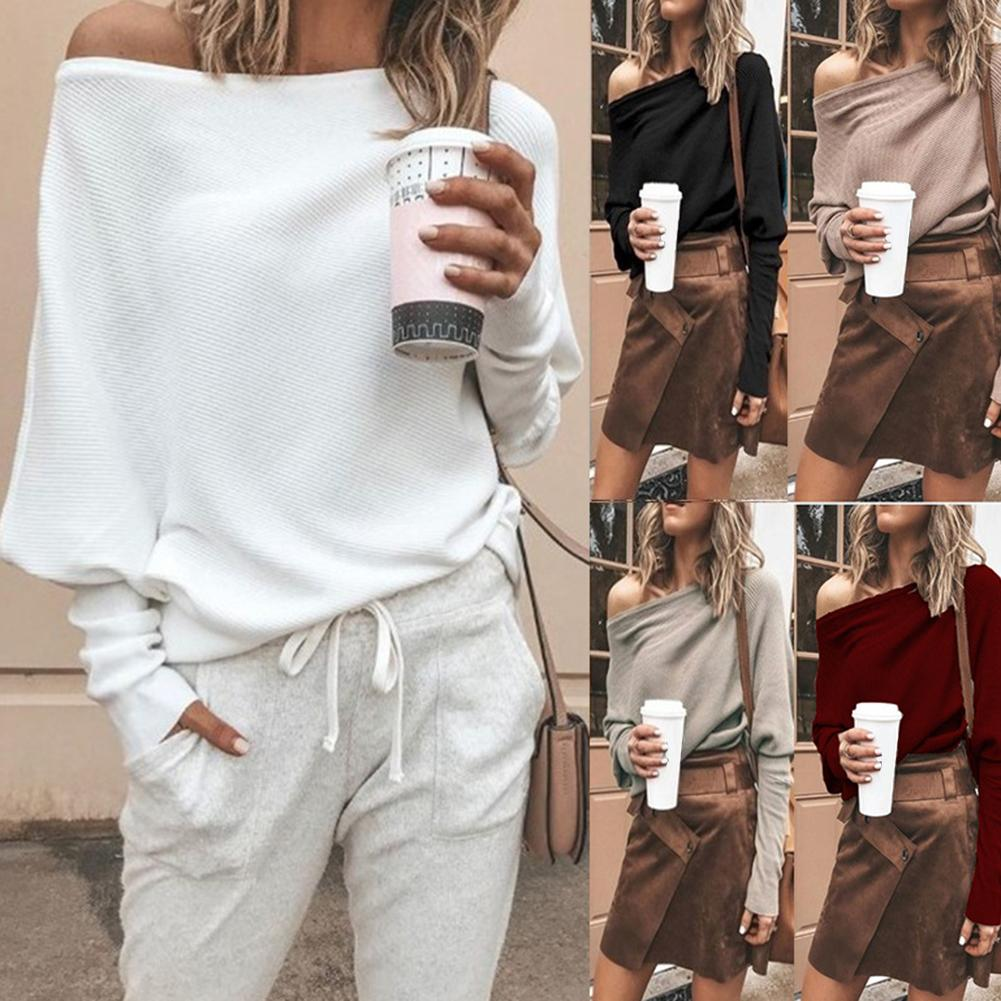 Knitted Sweater Sexy Sweaters Solid Color Off Shoulder Long Sleeve Sweater Loose Knitted Pullover Jumpers Female Streetwear
