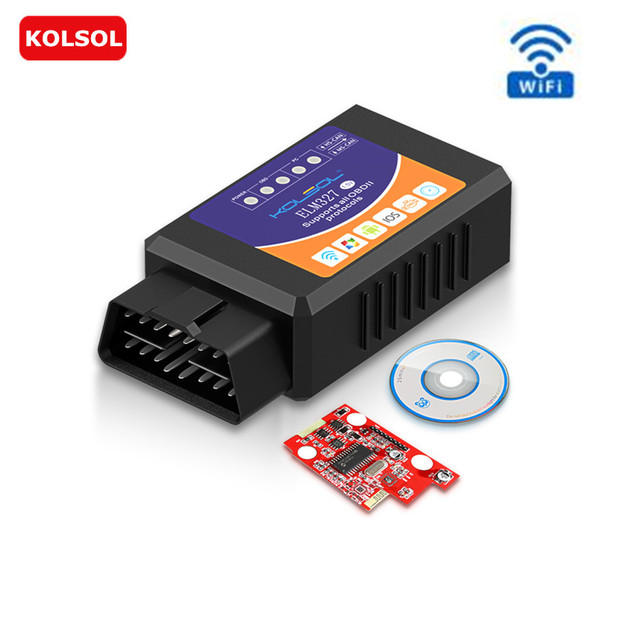 KOLSOL ELM327 WIFI OBD2 Scanner V1.5 ELM327 with Switch Car Scanner for Ford CH340+25K80 chip HS-CAN / MS-CAN