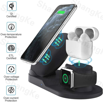 Wireless Charger Stand for iPhone AirPods Apple Watch, Charge Dock Station Charger for Apple Watch Series 5/4/3/2 iPhone 11 X XS 3